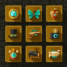 Flat steampunk icon set by Oleg Beresnev