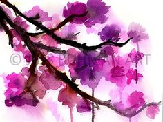 """Fall Sale Print of Original Watercolor Painting, Titled: """"Cherry Blossoms"""" by Jessica Buhman 8 x 10 Pink Black Brown Floral Flowers"""