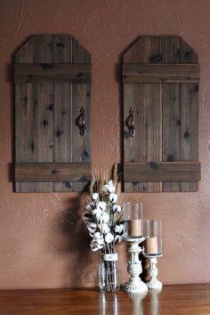 Rustic wall decor, farmhouse decor, wooden shutters, shutter wall d Rustic Wall Decor, Rustic Walls, Rustic Barn, Barn Wood, Pallet Barn, Weathered Wood, Farmhouse Shutters, Rustic Shutters, Farmhouse Decor