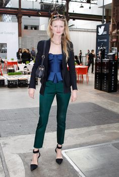 Candice Lake, Photographer and Blogger - Scanlan & Theodore jacket, Burberry top and pants, Barton Perreira sunglasses, Rachel Ruddick bag, Alexander Wang shoes. Fashion Week Australia S/S 13-14.
