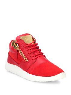 Giuseppe Zanotti - Leather & Suede Side-Zip Sneakers