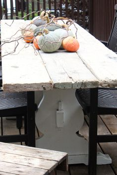 My Sweet Savannah, new outdoor table made with scaffolding and roadside finds, click to go through