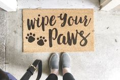 [afflink] Wipe Your Paws Doormat - Just Me Growing Up - Dog Love - Dog Mom - Doggo Mom - Home - Products I Love - Products for Home - Home Decor