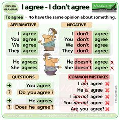 Which is correct, I agree or I am agree? Do you say I don't agree or I am not agree? What is the past tense of Agree? English Grammar Notes, English Homework, Teaching English Grammar, English Verbs, English Sentences, English Writing Skills, English Language Learners, English Vocabulary Words, Learn English Speaking