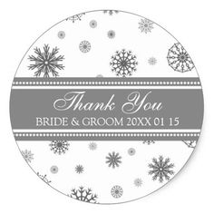 Grey White Thank You Winter Wedding Favor Tags