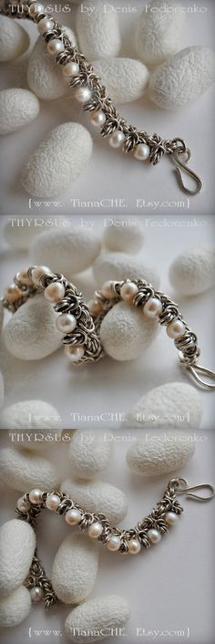 Sterling Silver Bracelet Chainmaille THYRSUS Akoya by TianaCHE