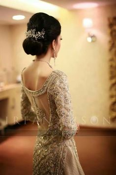Pakistani fashion. Valima. Dress. Dull gold. Silver. Elegant. Wedding dress. Backless. Net. Lace.
