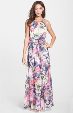 Maggy+London+Floral+Print+Chiffon+Keyhole+Maxi+Dress+available+at+#Nordstrom