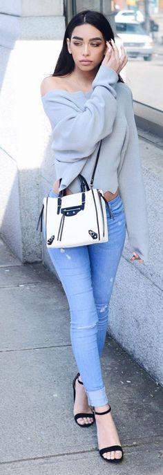#fblogger #street #style #spring #inspiration | Grey Off The Shoulder Top + Light Blue Denim | Janice Joostema
