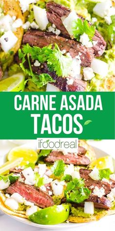 Carne Asada Tacos with juicy and flavorful grilled steak, guacamole, white onions and crumbled feta cheese. Clean, crispy and easy to make at home Mexican street tacos. Fresh Salsa, Asada Tacos, Healthy Grilling Recipes, Street Tacos, Marinated Steak, Juicy Steak, Skirt Steak, Carne Asada