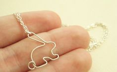 Easter bunny rabbit necklace in sterling silver  by MisoPretty, $23.00