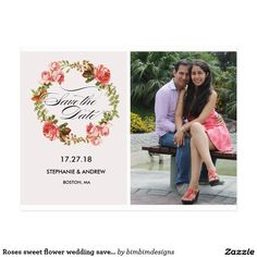 Roses sweet flower wedding save the date