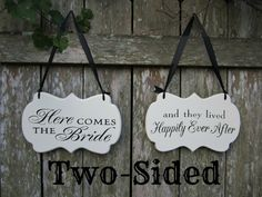 "Two Sided ""Here Comes the Bride"" / ""and they lived Happily Ever After"" Cottage Chic Wedding Sign, Wooden Flower Girl / Ring Bearer Sign on Etsy, $39.00"