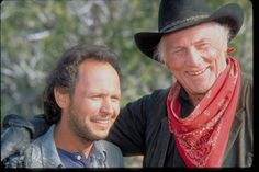 """""""City Slickers"""" movie still, L to R: Billy Crystal, Jack Palance. Movie Speeches, Young Movie, Jack Palance, Billy Crystal, City Slickers, Famous Names, Bagdad, Southern Sayings, Movies Worth Watching"""