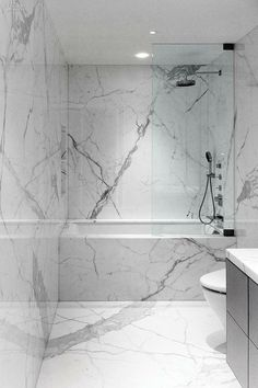 No one can deny the beauty and feel of marble and here they have covered all surfaces with it for a truly luxurious look.