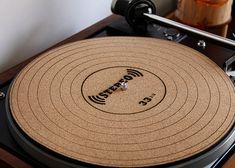 Handmade Engraved Cork Anti-Static Turntable Slipmat - LP 33 1/3