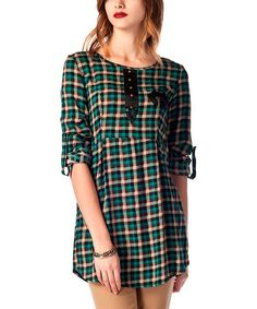 Loving this Petrol Plaid Faux Leather-Accent Tunic on #zulily! #zulilyfinds