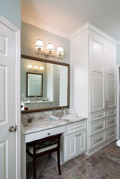 "sink, makeup vanity same height"" ""love the drawers and counter"