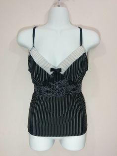 1d856fb95541 Bisou Bisou Intimates black   white striped sleep pajama lacy cami
