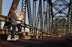 #photography #bridge #fall #couple #engagement  This would be perfect in Harpers Ferry.... even more so with the train coming.