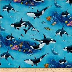 Enchanted Waters Orca Whales Blue