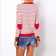 "Ladies red/white striped ""HEART"" long sleeve top This is an ADORABLE lightweight, long sleeve top. Its red and white striped with Cute HEARTS on the elbows. Pair with jeans or Jean shorts and you are ready to go! Brand new in original packaging. 100% cotton. Size L but fits more like a M. Tops Tees - Long Sleeve"