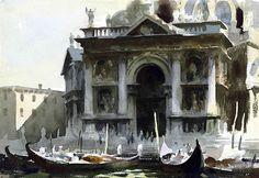Edward Seago, (1910-1974) Gondolas by the Salute, Venice