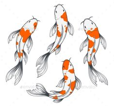Buy Koi Fish Set by abirvalg on GraphicRiver. Set of four traditional japanese koi fishes top view. Simple sketch style drawing of red and white fishes. Koi Fish Drawing, Fish Drawings, Art Drawings Sketches, Animal Drawings, Japanese Koi Fish Tattoo, Tattoo Sketches, Tattoo Drawings, Koi Art, Fish Art
