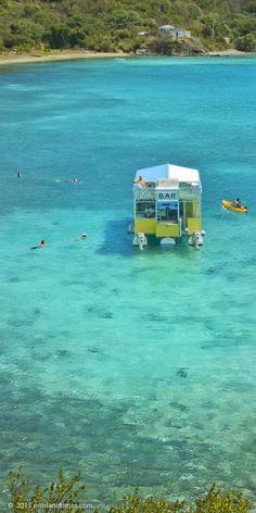 Floating Bar, Angels Rest, at Hansen Bay on St John's East End in the US Virgin Islands.