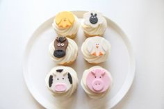 Farm Animal Cupcake Toppers Fondant by MilkandHoneyCakery on Etsy