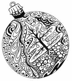 Adult Coloring Pages - Free to Print Christmas ball