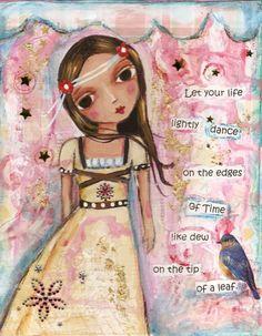 Girl child Original mixed media painting. $50.00, via Etsy.