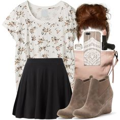 A fashion look from February 2015 featuring tee-shirt, mini skirts and wedge boots. Browse and shop related looks. Lydia Martin Outfits, Lydia Martin Style, Teen Wolf Fashion, Teen Wolf Outfits, Beautiful Outfits, Cool Outfits, Casual Outfits, Fashion Outfits, Fashion Tips