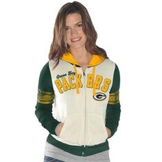 Green Bay Packers Ladies Powerhouse Full Zip Hoodie - White Green bf8c6c02e