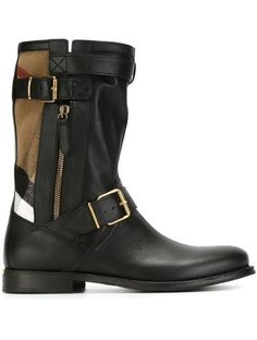 Burberry Checked Panel Boots