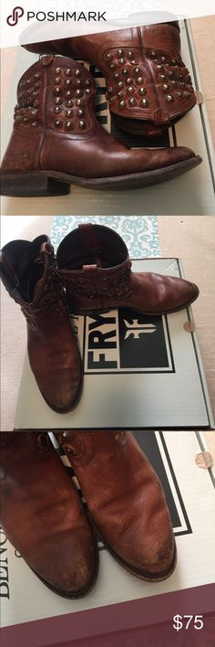 """Frye Wyatt disc short bootie These are super cute! Shows some signs of wear but I like to call it """"already broke in"""" if you know frye boots you know these still have tons of life left. See photos for wear. Frye Shoes Ankle Boots & Booties"""