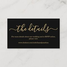 Black &Gold Wedding Details Website Enclosure Card Black And Gold Invitations, Simple Wedding Invitations, Wedding Rsvp, Hotel Wedding, Wedding Cards, Shower Invitations, Invites, Wedding Envelopes
