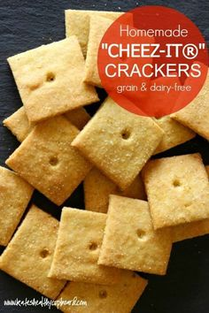 """""""Cheez It"""" Crackers Made Healthier! With this grain & dairy-free version of your favorite childhood cracker, you can eat a bunch guilt-free!"""