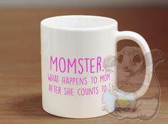 Momster Coffee Mug Mother's Day Mug by MarsupialsMarket on Etsy Tea Mugs, Coffee Mugs, Mother's Day Mugs, Mom Day, Cricut, Silhouette, Crafty, Funny Sayings, Coffee Break