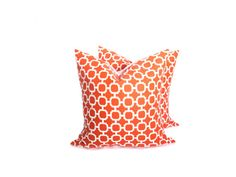 Orange Throw Pillows Orange and White Lattice Print  TWO 20x20 Print on front and back Indoor/outdoor