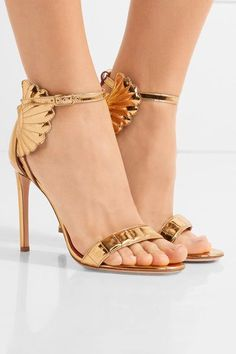 Heel measures approximately 100mm/ 4 inches Gold mirrored-leather  Buckle-fastening ankle strap Made in Italy