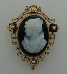"""Victorian c.1900s AGATE CARVED CAMEO PEARL YELL GOLD PIN BROOCH PENDANT $2,500 c.1900's Victorian Agate Cameo, Pearl & Yellow Gold Pin/Brooch/Pendant     ·           Lovely Victorian cameo brooch/pendant that is a great addition to your collection.  ·            Weight is 17.5 grams.  ·           Made of 14k (tested) yellow gold, agate and natural pearls.  ·            Created in 1900's  ·           Measurements – Cameo:  Width ¾""""   Height 1-1/8""""                                          Pin…"""