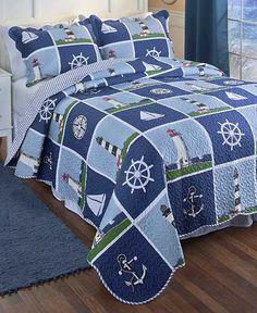 Lighthouse Quilt Set Nautical Maritime Theme Reversible Bedding