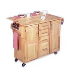 Home Styles Natural Wood Kitchen Cart with Breakfast Bar - BedBathandBeyond.com... We need this!!