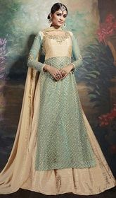 Blue and Beige Color Net Embroidered Long Suit  #designerpakistanidresses #pakistanidressdesigners Evoke a sudden and stinging delight adorned in this blue and beige color net embroidered long suit. This beautiful attire is showing some superb embroidery done with lace and resham work.  USD $ 177 (Around £ 122 & Euro 135)