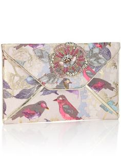 Bonbon Birdie Clutch - I love the pretty bird print and embellishment <3