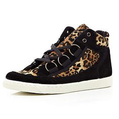 Black leopard print panel D ring high tops - plimsolls / trainers - shoes / boots - women