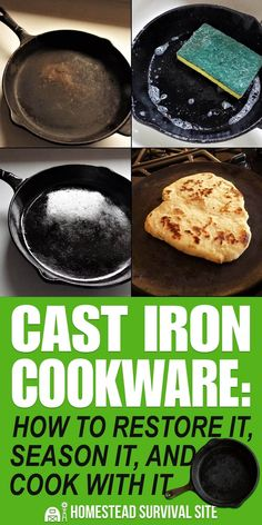Before you use cast iron cookware, you need to learn how to restore it and season it. We'll explain how and share some of our favorite cast iron recipes. Camping Desserts, Campfire Dinner Recipes, Vegetarian Camping Recipes, Camping Meals, Camping Cooking, Cooking School, Camping Survival, Family Camping, Outdoor Cooking
