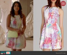 Jane's white and pink palm printed dress on Jane the Virgin.  Outfit Details: http://wornontv.net/39637/ #JanetheVirgin