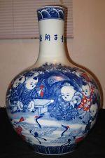 HUGE ANTIQUE CHINESE PORCELAIN TRI COLORS FAMILLE ROSE VASE, 19TH CENTURY, NR.